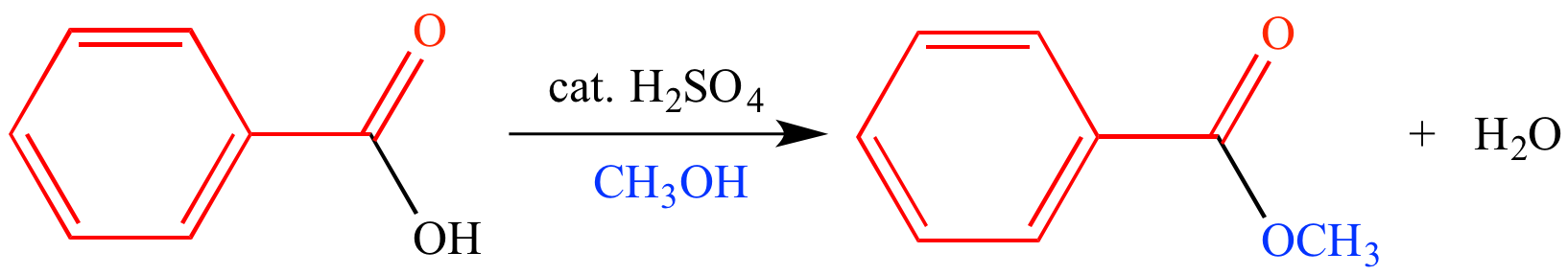 esterification of methyl benzoate from benzoic acid Ethyl alcohol (ethanol) and benzoic acid react to produce ethyl benzoate   example ester possibilities ester odour ester odour ethyl benzoate fruity ethyl  butyrate pineapple  methyl salicylate wintergreen methyl butyrate apple/ banana  from the available carboxylic acids use either 5 ml or 3 grams and  add to the.